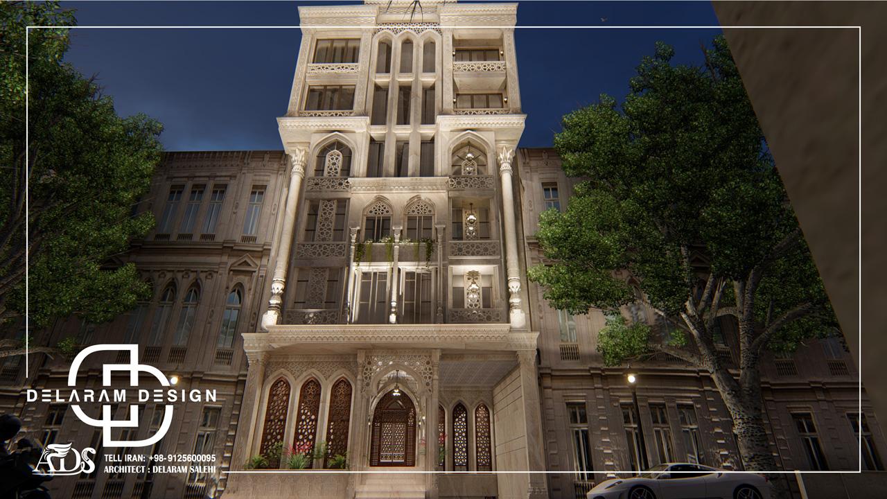 طراحی خارجی آپارتمان کلاسیک در ایران مغربی 06