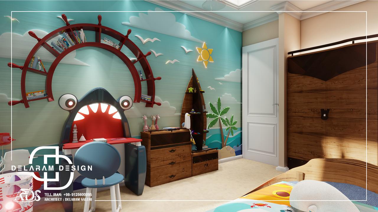 طراحی داخلی اتاق خواب پسرانه 2 فیروزی 03