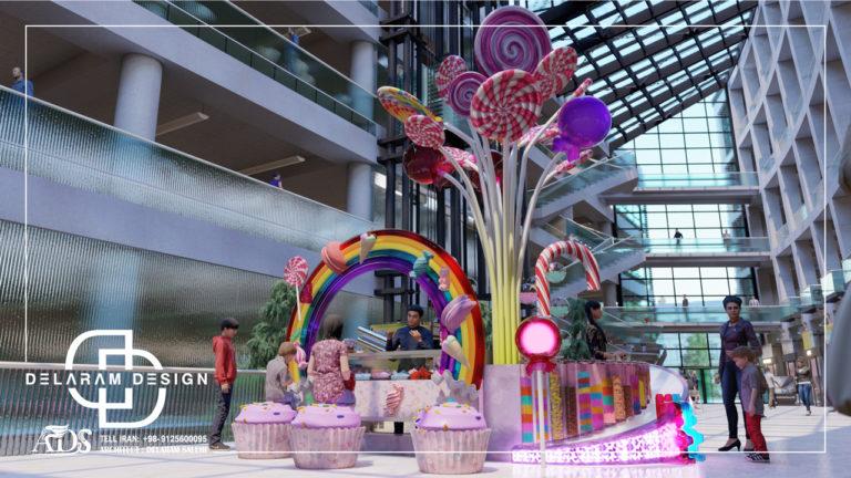 طراحی داخلی فروشگاه شیرینی فروشی