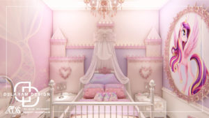 Interior design of girls' bedroom 01