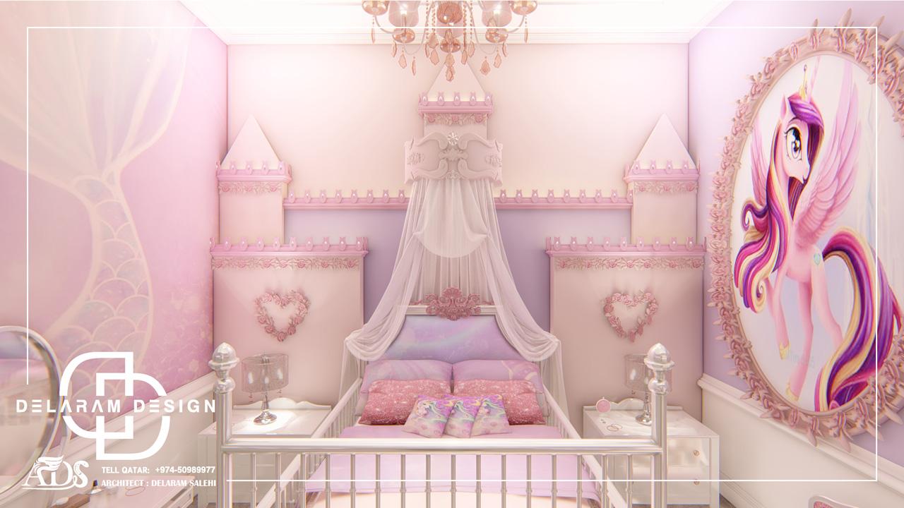 طراحی داخلی اتاق خواب دخترانه در قطر خانکی01