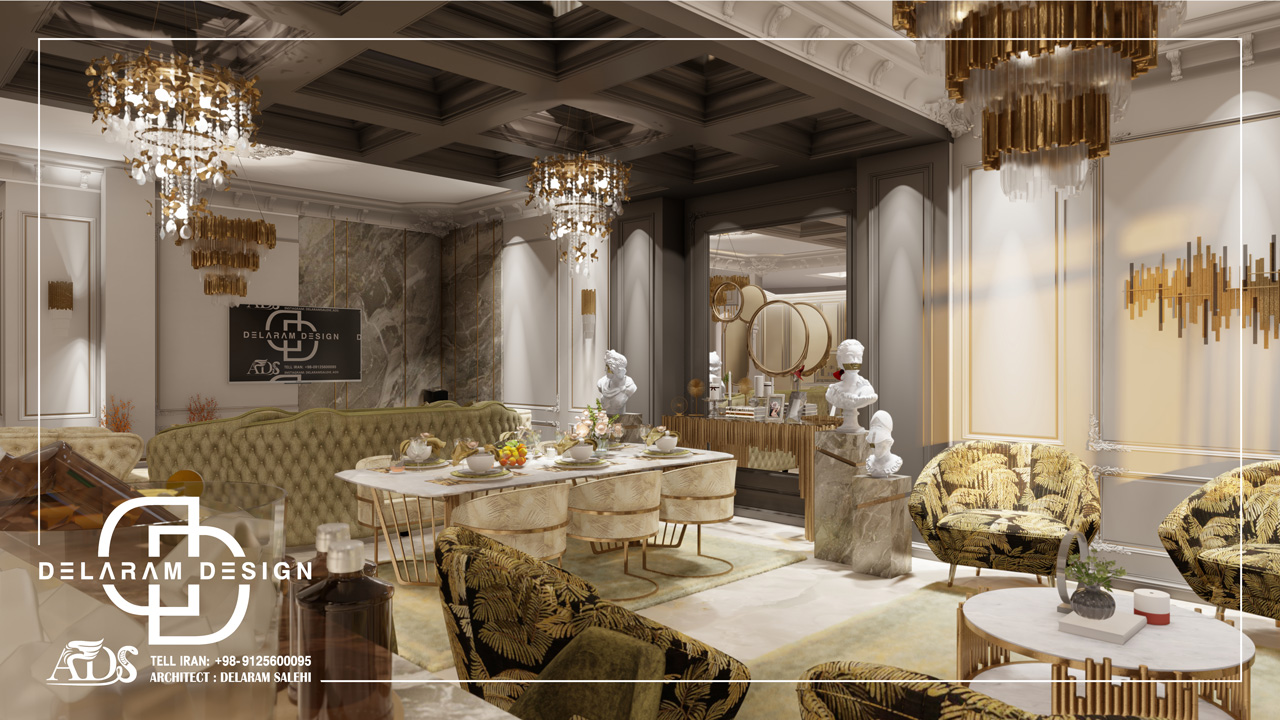 طراحی داخلی اتاق نشیمن و اتاق غذاخوری و اتاق تلویزیون فیروزی 04