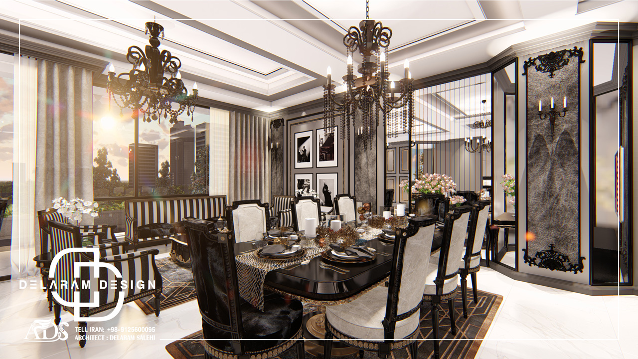 طراحی داخلی اتاق نشیمن و اتاق غذاخوری و اتاق تلویزیون کتابچی 09