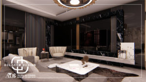 Interior design of living room and dining room and TV room 10