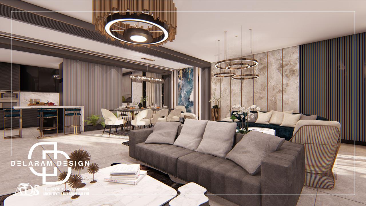 طراحی داخلی اتاق نشیمن و اتاق غذاخوری و اتاق تلویزیون سعادت آباد 10